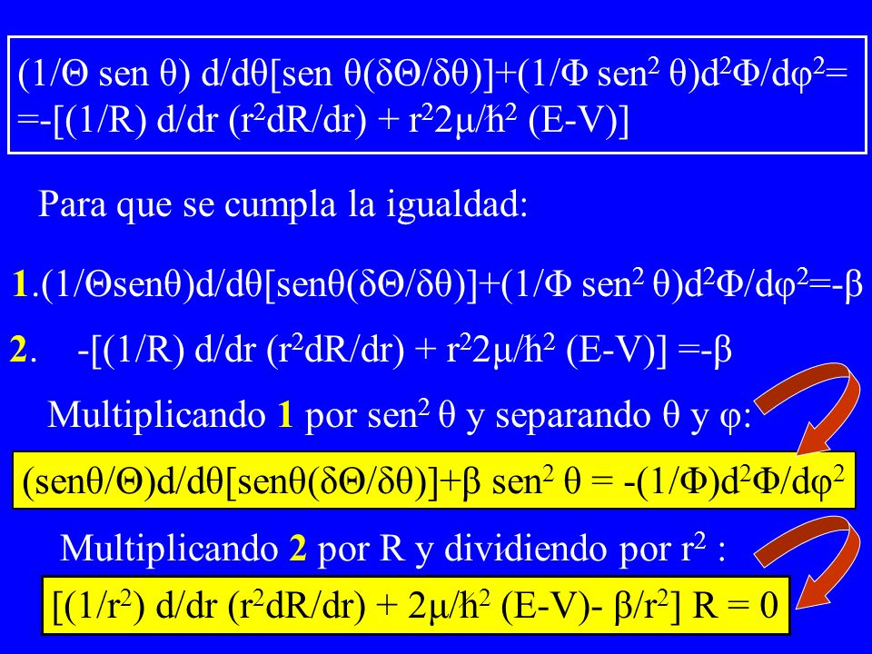 (1/Θ sen θ) d/dθ[sen θ(δΘ/δθ)]+(1/Φ sen2 θ)d2Φ/dφ2= =-[(1/R) d/dr (r2dR/dr) + r22μ/h2 (E-V)]